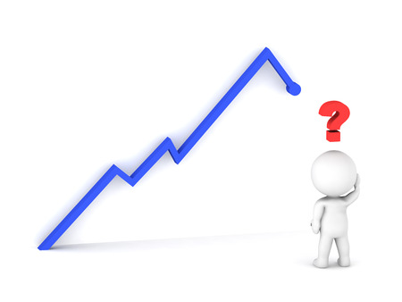 3D guy looking at a stock chart, thinking what will be the future chart trend