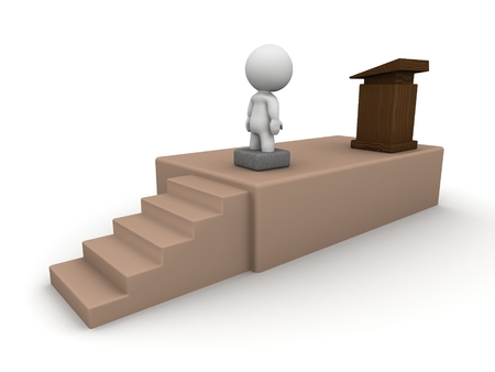 A 3D man is stuck in a concrete block when he goes up to the stage to speak - fear of public speaking concept