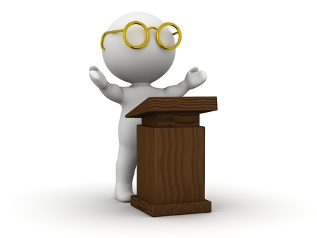 A 3d man wearing glasses giving a speech at a lectern Stok Fotoğraf