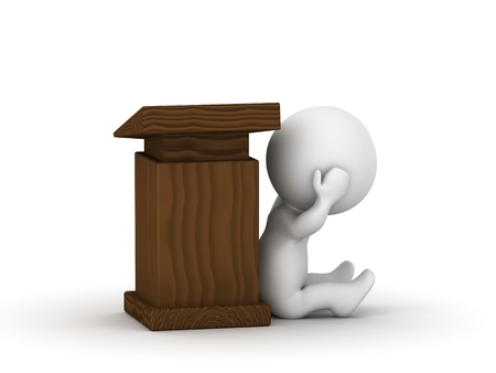public speaking: A 3d guy is afraid of public speaking and he hides next to a lectern