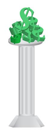 colonna romana: Piedistallo della colonna romana con denaro contante in cima Vettoriali