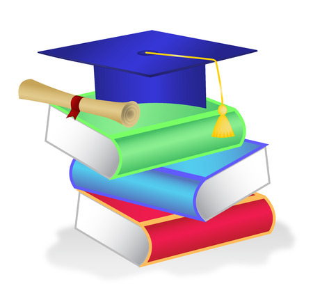 credential: Stack of books with diploma and graduation hat