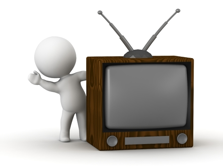 A 3D guy leaning and waving from behind a retro TV photo