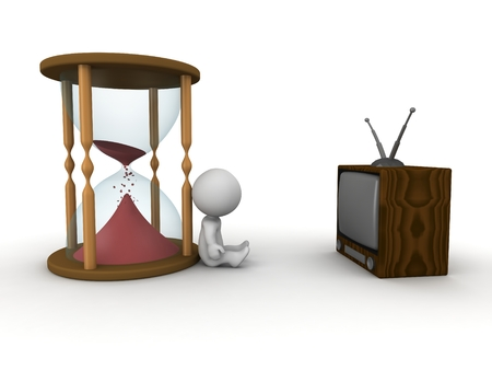 A 3D guy wathing TV and an hourglass with red sand almost finished photo