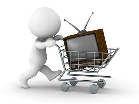 A 3D guy pushing a shopping cart with a retro TV photo
