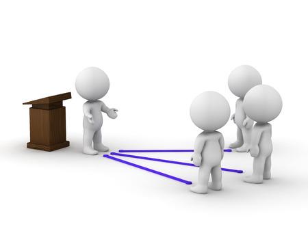 スピーチをして、視聴者と接続する 3 D 男 写真素材