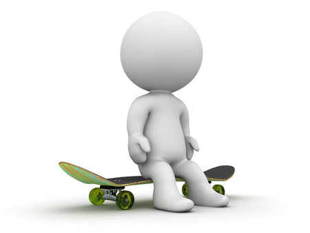 A 3d guy sitting resting on a skateboard photo