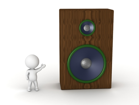3D character showing a large speaker 版權商用圖片