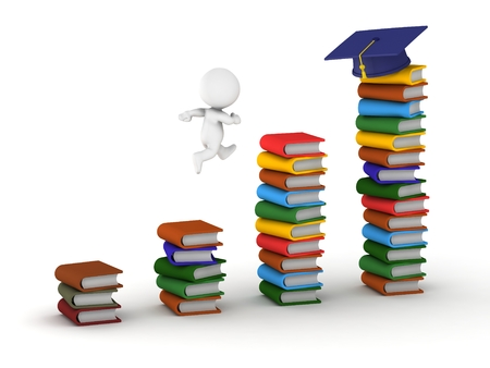 3D guy jumping on stacks of books to get to graduation cap photo