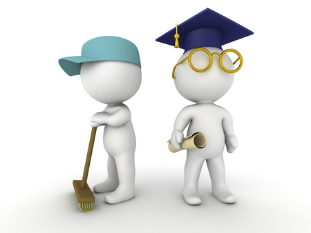 hygene: Two 3D guys - one dressed as a janitor and one dressed as a graduate with cap, diploma, and glasses Stock Photo