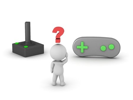 gamepad: A retro joystick, a gamepad, and a 3D guy thinking, with a red question symbol