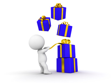 A 3d guy pulling on a gift ribbon, and wrapped gift boxes falling over him photo