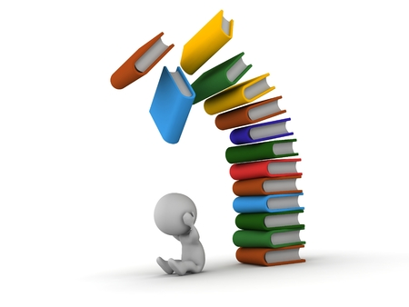 Colorful books falling over a 3d guy