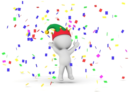 A 3D guy wearing an elf hat and with confetti around him Stock Photo