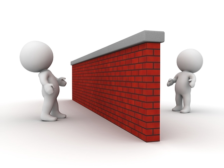 3D characters looking at each other from opposite sides of a brick wall