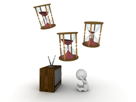 3D character watching TV and hourglasses above him photo