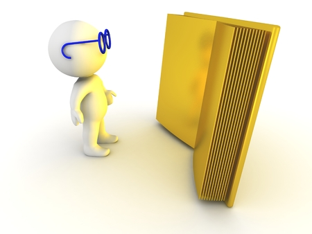 self development: A 3D character wearing blue glasses reading a huge golden book Stock Photo