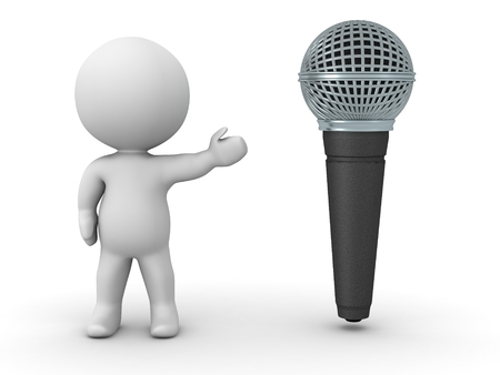 A 3D character showing a large microphone photo