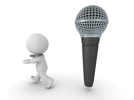 A 3D character running away from a large microphone photo