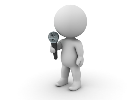 A 3D character with a microphone photo