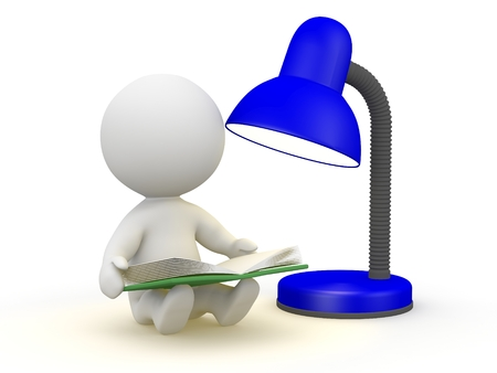 A 3D character reading a book by a lamp