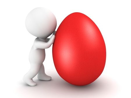 3D character pushing a red Easter egg, isolated on white photo