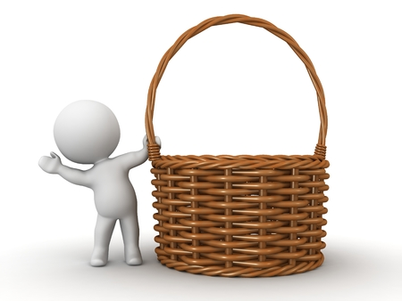 3D character waving from behind a wicker basket, isolated on white photo