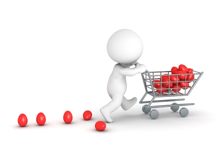 3D character pushing a shopping cart with red Easter eggs, isolated on white photo
