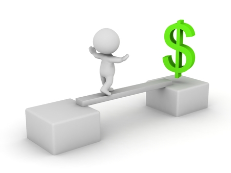 ledge: 3D Character walking on a small ledge to get to a green dollar symbol, isolated on white
