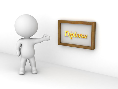 acknowledgement: 3D character showing a diploma on a wall