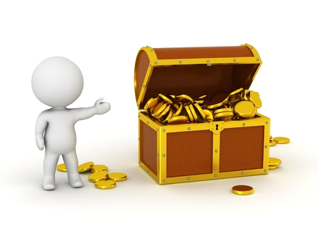 treasure chest: Car�cter 3D con cofre del tesoro y monedas de oro Foto de archivo