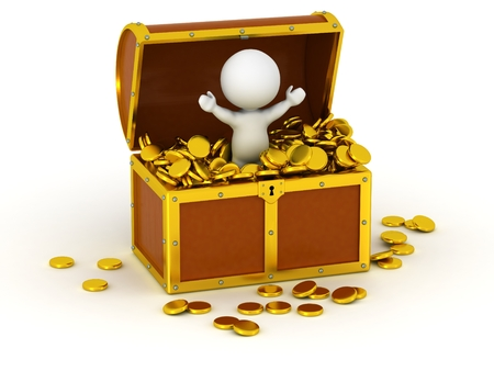 A 3D character with arms up, standing inside a treasure chest filled with gold coins, isolated on white