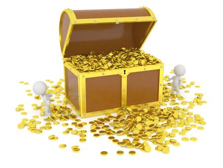 jack pot: Enorme cofre del tesoro 3D lleno de monedas de oro, y los personajes 3d mirarlo, aislados en blanco Foto de archivo