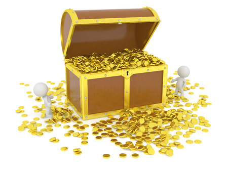 treasure hunt: Huge 3D treasure chest filled with golden coins, and 3d characters looking at it, isolated on white