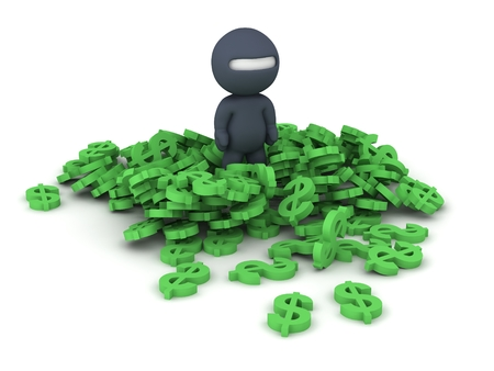 3D Character dressed as ninja standing in pile of dollar symbols, isolated on white photo