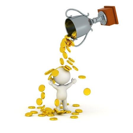 A 3D trophy pouring golden coins over a 3D character, isolated on white photo