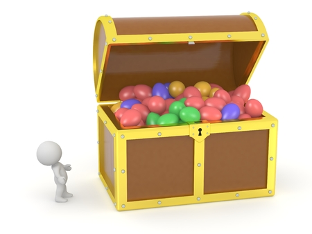 treasure hunt: A 3D treasure chest filled with colorful Easter eggs and a 3D character looking at it Stock Photo