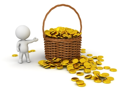 3D Character Showing Wicker Basket with Gold Coins photo