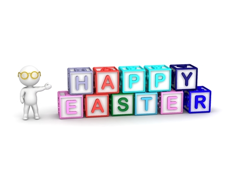 spelling: 3D Character showing boxes spelling Happy Easter