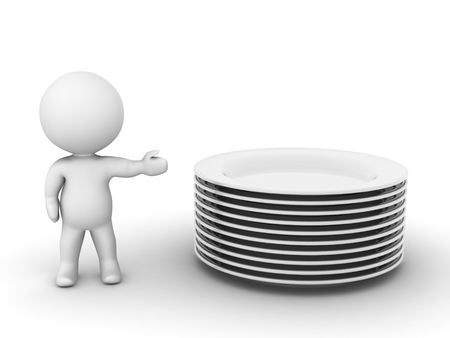 A 3D character showing a stack of empty dishes isolated on white