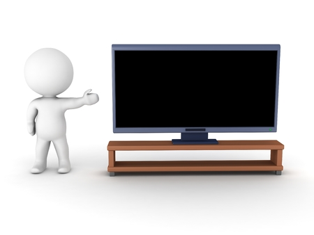 hdtv: A 3D character showing a generic HDTV, isolated on white