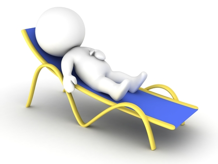 A 3D character relaxing in a beach chair, isolated on white Stock Photo