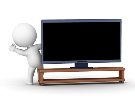 3D character waving from behind a big screen HD television