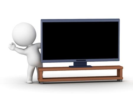 3D character waving from behind a big screen HD television