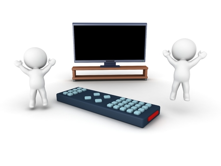 controll: Two 3D characters jumping up, a large HD television and a remote control Stock Photo
