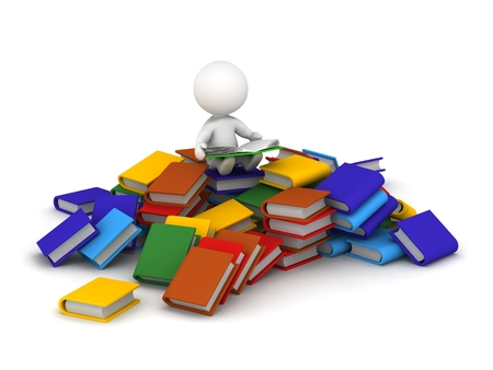 3D character sitting on a pile of books and reading a book