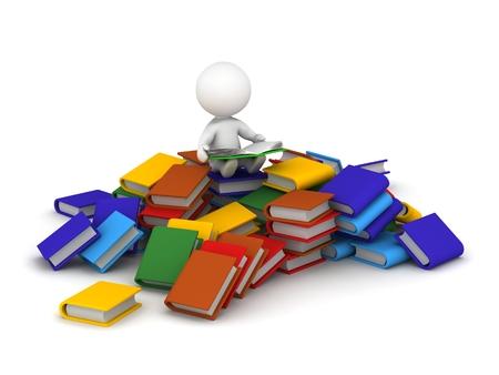 3D-Charakter sitzt auf einem Stapel B�cher und ein Buch lesen