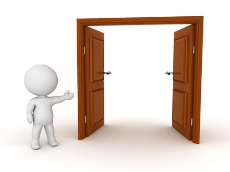大きなオープン二重ドアを示す 3 D キャラクター
