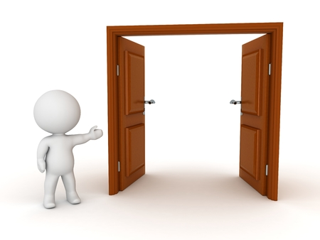 double entry: 3D character showing a large open double door