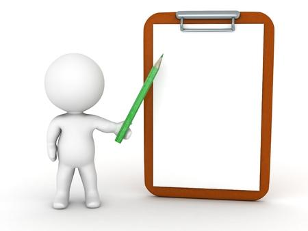 3 D キャラクター鉛筆でクリップボードを表示 写真素材